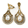 Vintage Inspired Teardrop Crystal, Faux Pearl Clip On Earrings In Aged Gold Tone - 50mm L