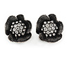 Vintage Inspired Clear Crystal Textured Flower Stud Clip On Earrings In Aged Silver Tone Metal - 22mm D