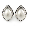 Vintage Inspired Faux Pearl Clear Crystal Leaf Stud Clip On Earrings In Silver Tone - 23mm L