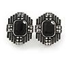 Art Deco Clear/ Black Crystal Geometric Stud Clip On Earrings in Aged Silver Tone - 25mm L
