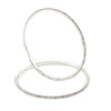 95mm Oversized Slim Clear Crystal Hoop Earrings In Silver Tone
