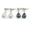 2 Pairs Off White, Black Acrylic, Crystal Teardrop Earring Set - 30mm L