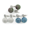 3 Pairs of Glittering Fabric Disco Ball Drop Earring Set In Silver Tone (White, Blue, Peacock) - 30mm Drop