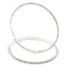85mm Oversized Slim Clear Crystal Hoop Earrings In Silver Tone
