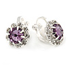 Small Amethyst Green, Clear Crystal Floral Clip On Earrings In Silver Tone - 15mm L