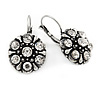 Vintage Inspired Button Shape Clear Crystal Drop Earrings In Aged Silver Metal - 30mm L