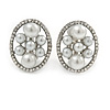 Oval Faux Pearl, Crystal Clip On Earrings In Silver Tone - 20mm L