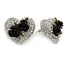 Clear Crystal with Black Rose Motif Stud Heart Earrings In Rhodium Plated Metal - 20mm L