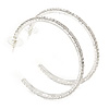 Slim Clear Diamante Hoop Earrings In Silver Plating - 60mm D