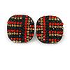 Xmas Red/ Dark Green/ Orange Square Stud Earrings In Black Tone - 20mm