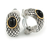 C Shape Two Tone Etched with Black Stone Clip On Earrings - 22cm L