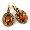 Vintage Inspired Oval Amber/ Citrine Crystal Drop Earrings with Leverback Closure In Antique Gold Tone - 40mm L