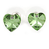 Small Green Glass Heart Stud Earrings In Silver Tone - 10mm Tall