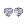 Small Lavender Glass Heart Stud Earrings In Silver Tone - 10mm Tall
