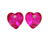 Small Fuchsia Pink Glass Heart Stud Earrings In Silver Tone - 10mm Tall