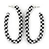 Black/ White, Monochrome Checkered Pattern Acrylic Oval Hoop Earrings - 60mm L