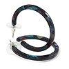 37mm Medium Acrylic/ Plastic Hoop Earrings (Purple/ Teal/ Black)