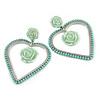 Statement Mint Green Acrylic Open Heart, Rose Drop Earrings In Silver Tone - 70mm L