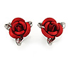 Small Romantic Red Rose Stud Earrings In Silver Tone - 13mm D