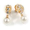 Delicate Crystal Faux Pearl Drop Clip On Earrings In Gold Tone - 30mm Long