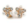Crystal, Faux Pearl Flower Clip On Earrings In Gold Tone - 20mm D
