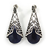 Marcasite Hematite Crystal, Midnight Glass, Filigree Teardrop Earrings In Aged Silver Tone - 40mm L