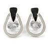 Teardrop with Clear Crystal with Black Enamel Detailing Stud Earrings In Silver Tone - 30mm L