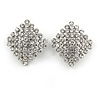Clear Crystal Square Shape Clip On Earrings In Silver Tone - 30mm Tall