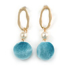 Trendy Pastel Teal Faux Velour Ball with Gold Tone Oval Drop Earrings - 60mm L