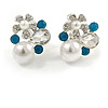 Delicate Pearl, Crysal Floral Clip On Earrings In Silver Tone (Clear/White/Teal) - 18mm Tall