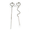 Romantic Clear Crystal Open Heart with Chain Drop Earrings In Silver Tone Metal - 90mm Long