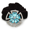 Large Layered Rhodium Plated Swarovski Crystal 'Flower' Pony Tail Black Hair Scrunchie - Light Blue/ Clear/ AB