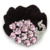 Large Rhodium Plated Crystal Peacock Pony Tail Black Hair Scrunchie - Pink/ Clear