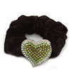Rhodium Plated Swarovski Crystal Classic 'Heart' Pony Tail Black Hair Scrunchie - Clear/ Green/ Olive