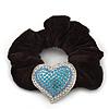 Rhodium Plated Swarovski Crystal Classic 'Heart' Pony Tail Black Hair Scrunchie - Clear/ Azure/ Light Blue