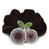 Rhodium Plated Swarovski Crystal 'Double Cherry' Pony Tail Black Hair Scrunchie - AB/ Amethyst
