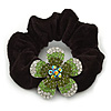 Medium Rhodium Plated Swarovski Crystal Flower Pony Tail Black Hair Scrunchie - Green/ Clear