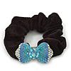 Rhodium Plated Swarovski Crystal 'Bow' Pony Tail Black Hair Scrunchie - Azure/ Blue/ AB