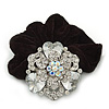 Large Layered Rhodium Plated Swarovski Crystal Rose Flower Pony Tail Black Hair Scrunchie - Clear/ AB