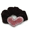 Rhodium Plated Swarovski Crystal 'Asymmetrical Heart' Pony Tail Black Hair Scrunchie - Light Pink/ Fuchsia