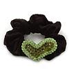 Rhodium Plated Swarovski Crystal 'Asymmetrical Heart' Pony Tail Black Hair Scrunchie - Olive/ Grass Green