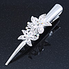 Bridal/ Prom/ Wedding Rhodium Plated Clear, AB Crystal Double Flower Hair Beak Clip/ Concord Clip - 13cm Length