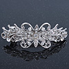 Bridal Wedding Prom Silver Tone Diamante 'Flower' Barrette Hair Clip Grip - 80mm Across