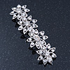 Bridal Wedding Prom Silver Tone Crystal Diamante 'Flower' Barrette Hair Clip Grip - 85mm Across