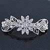 Bridal Wedding Prom Silver Tone Filigree Diamante 'Flowers & Leaves' Barrette Hair Clip Grip - 85mm Across