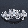 Bridal Wedding Prom Silver Tone Filigree Diamante 'Butterfly' Barrette Hair Clip Grip - 90mm Across
