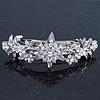 Bridal Wedding Prom Silver Tone Diamante 'Daisy Flower' Barrette Hair Clip Grip - 85mm Across