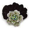 Large Sculptured Rhodium Plated Swarovski Crystal Flower Pony Tail Black Hair Scrunchie - Green/ Clear