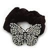 Black Tone Swarovski Crystal 'Butterfly' Pony Tail Black Hair Scrunchie - Clear