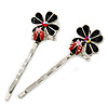 2 Teen Enamel Crystal 'Flower & Ladybug' Hair Grips/ Slides In Rhodium Plating - 50mm Across